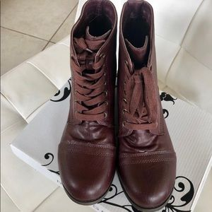 Rampage Damica Combat Burgundy Boots Size 8